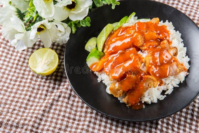 Estilo chinês roasted friável e arroz da carne de porco da barriga imagem de stock royalty free