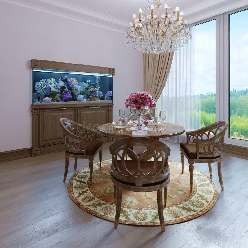 Estilo clássico branco interior luxuoso da sala de jantar da cadeira marrom da parede e da mobília, candelabro clássico ilustração stock