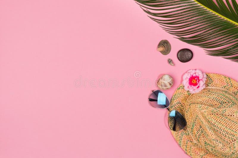Estilo colocado liso criativo da forma com óculos de sol, folhas de palmeira e chapéu de Panamá imagem de stock