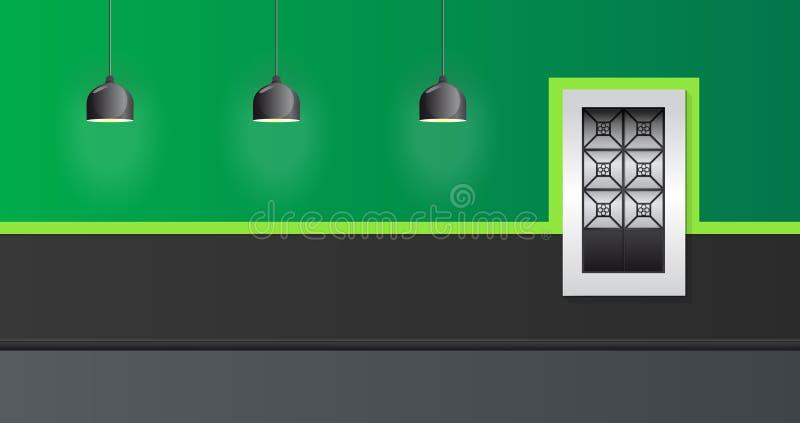Estilo colonial da janela e da lâmpada da ilustração do vetor da fachada da casa ilustração stock