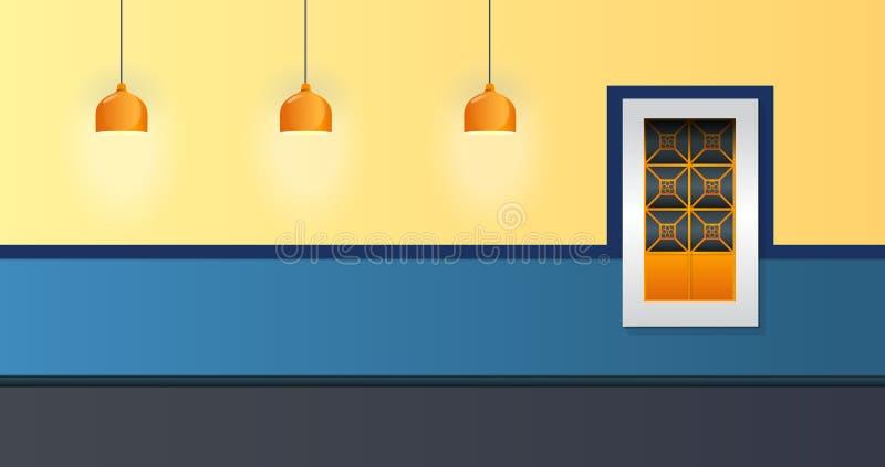 Estilo colonial da janela e da lâmpada da ilustração do vetor da fachada da casa ilustração royalty free