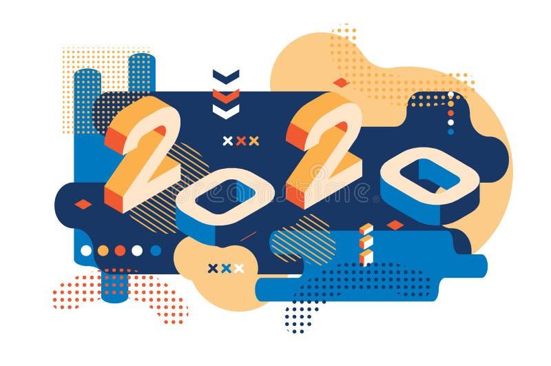 Estilo coloreado 2020 de Memphis Bandera con 2020 n?meros ilustraci?n del A?o Nuevo del vector ilustración del vector