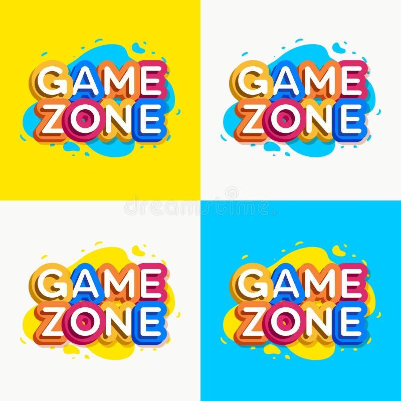 Estilo colorido ajustado do logotipo da zona do jogo do vetor ilustração royalty free