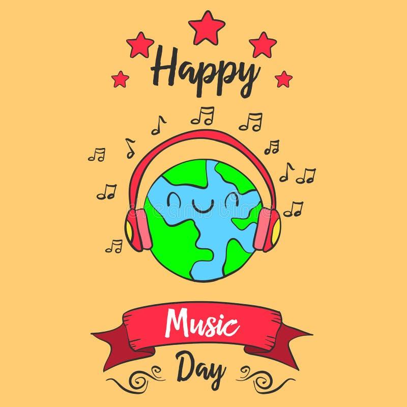 Estilo colorido do dia da música do mundo ilustração do vetor
