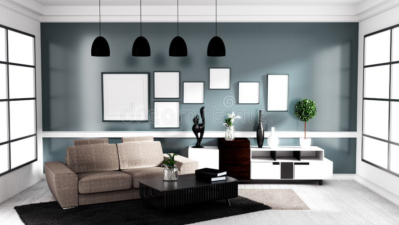 Estilo contemporáneo moderno, mofa del diseño interior de la sala de estar para arriba representaci?n 3d stock de ilustración