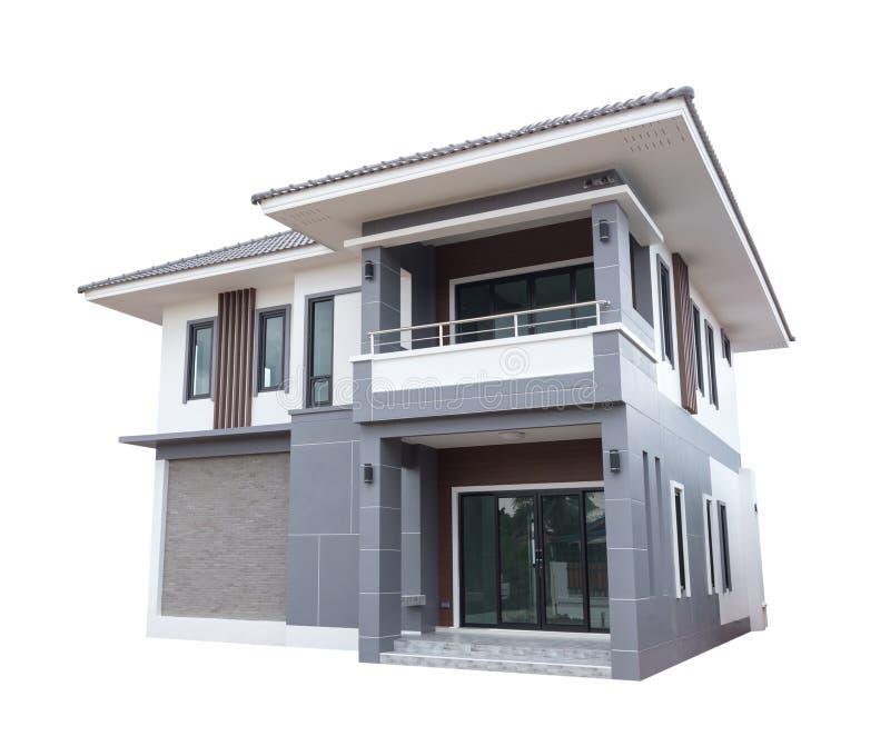 Estilo contemporâneo moderno da casa isolado no branco fotografia de stock royalty free