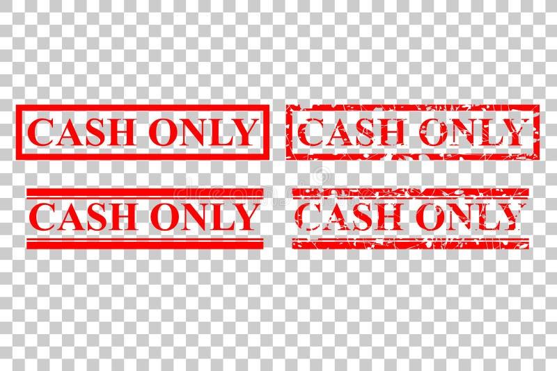 Estilo cuatro del sello de goma: Efectivo solamente, ningún debe o tarjeta de crédito, en el fondo transparente del efecto stock de ilustración
