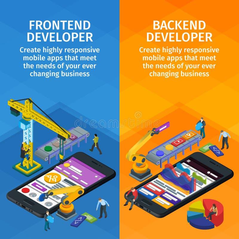 Estilo 3d isométrico liso tornando-se das aplicações móveis As bandeiras verticais ajustaram o design web App Frontend e backend ilustração royalty free