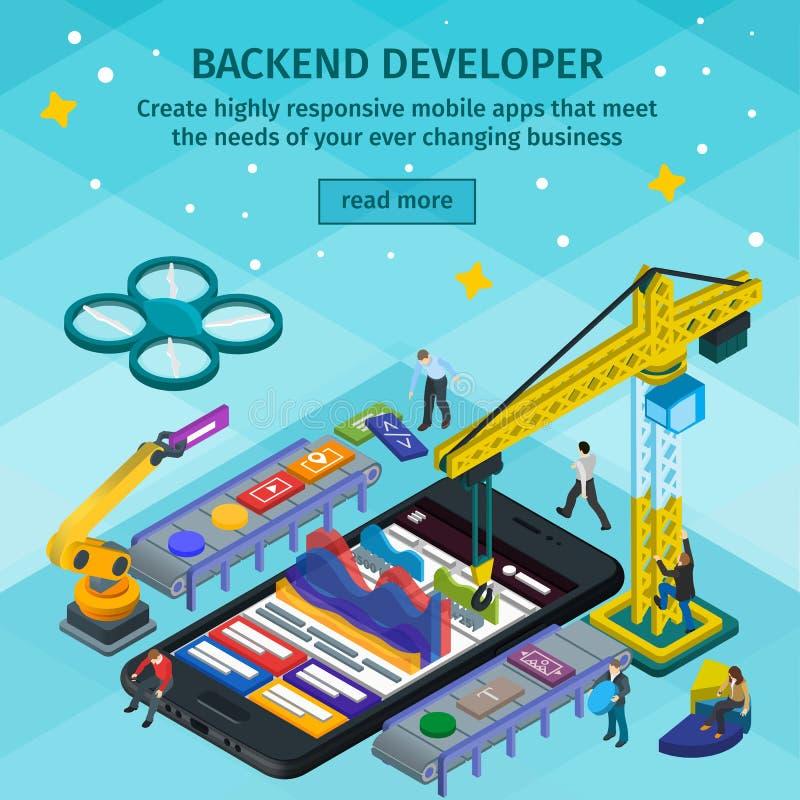 Estilo 3d isométrico liso tornando-se das aplicações móveis Colaborador backend app Povos que trabalham na partida Luz - design w ilustração stock