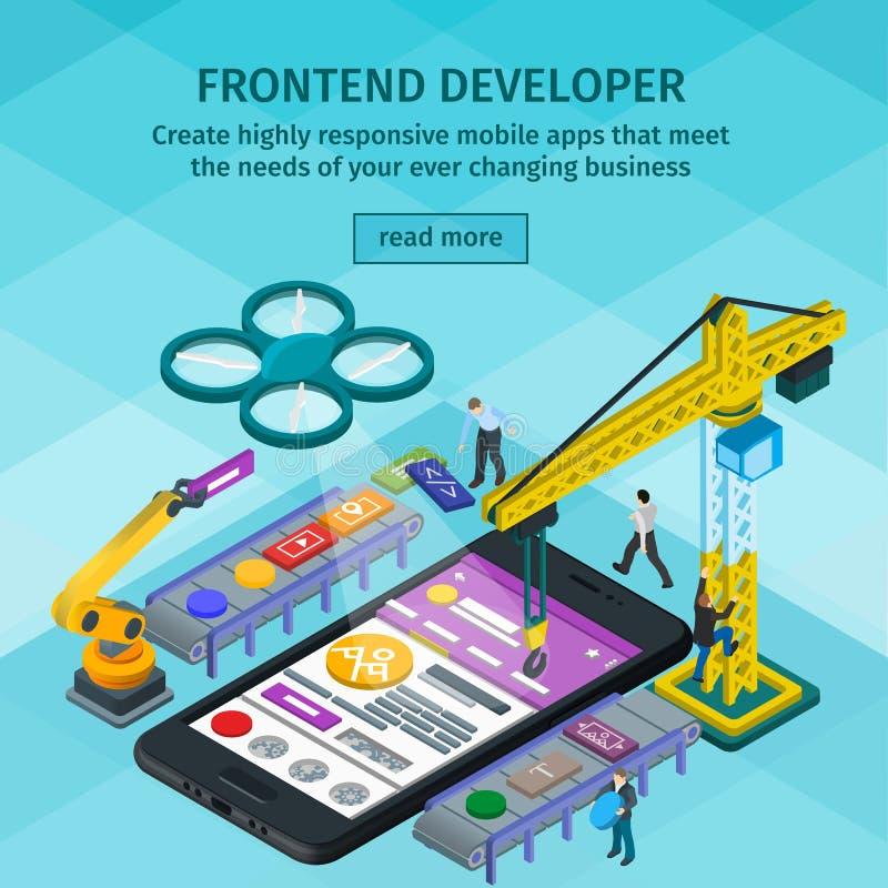 Estilo 3d isométrico liso tornando-se das aplicações móveis Colaborador Frontend app Povos que trabalham na partida Luz - design  ilustração do vetor
