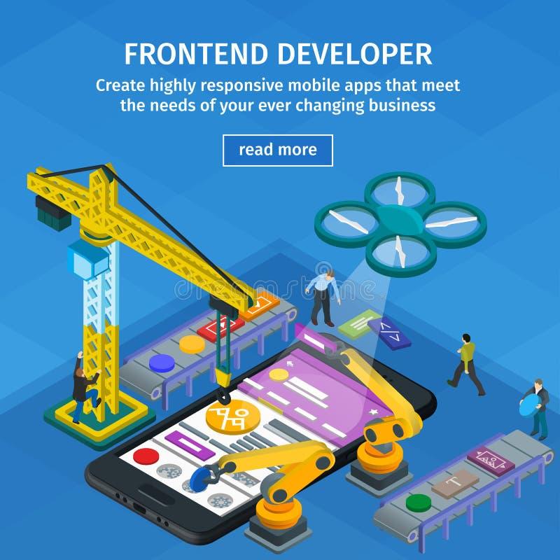 Estilo 3d isométrico liso tornando-se das aplicações móveis Design web azul Colaborador Frontend app Povos que trabalham na parti ilustração royalty free