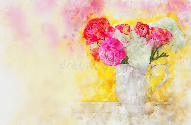 estilo da aquarela e imagem abstrata das flores no vaso ilustração do vetor