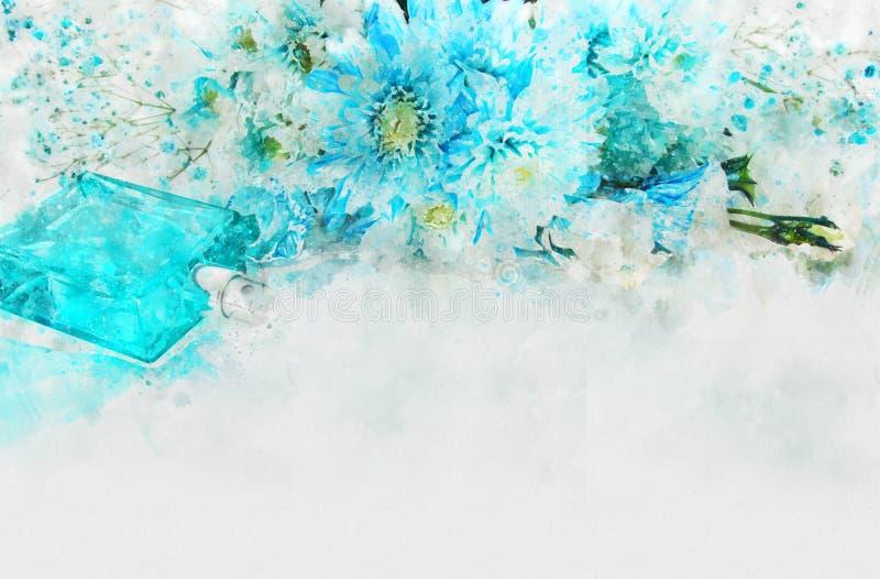 estilo da aquarela e imagem abstrata de flores azuis ilustração stock