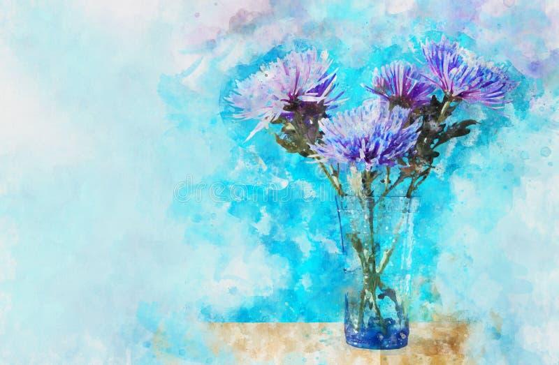 estilo da aquarela e imagem abstrata de flores azuis e roxas no vaso ilustração royalty free