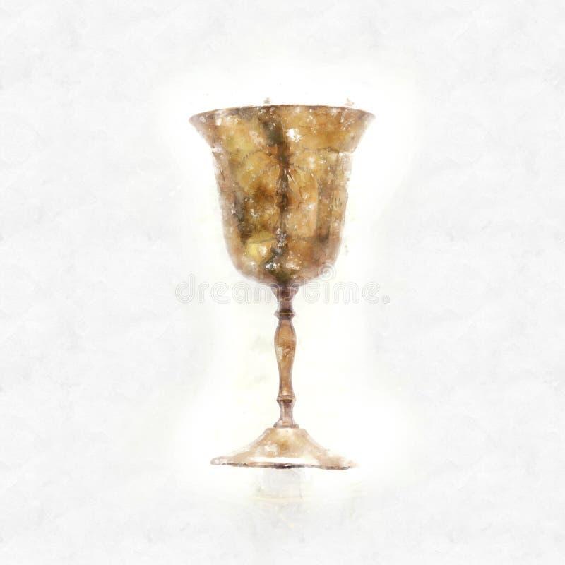 estilo da aquarela e imagem abstrata do copo judaico do vinho para o vinho feriado do passover e conceito do shabbat ilustração do vetor