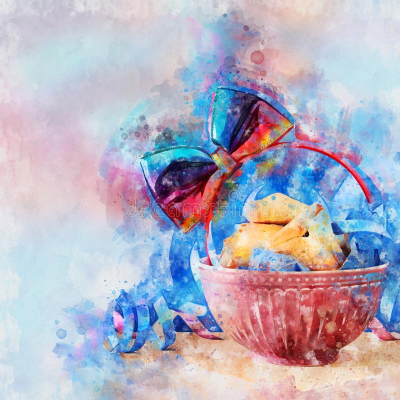 Estilo da aquarela e imagem abstrata do feriado judaico do carnaval do conceito da celebração de Purim ilustração royalty free