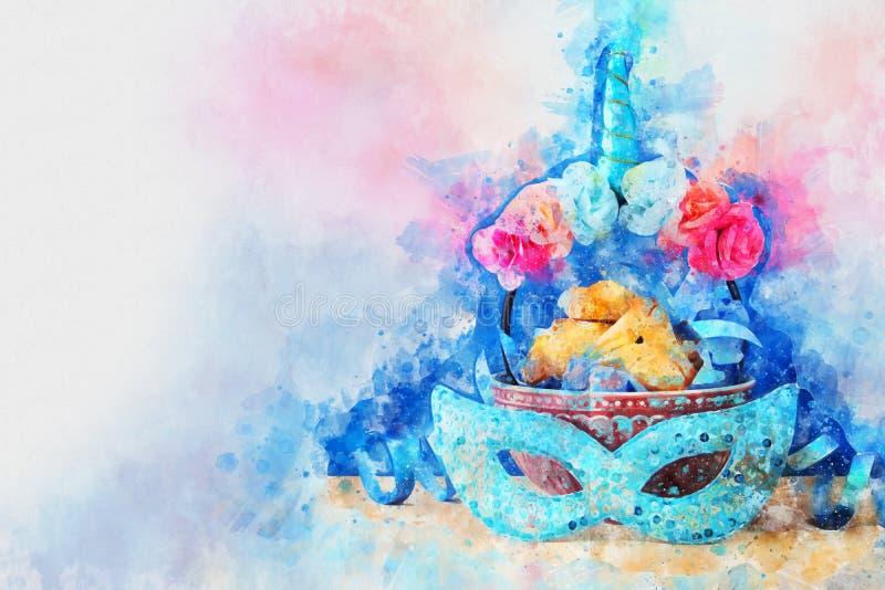 Estilo da aquarela e imagem abstrata do feriado judaico do carnaval do conceito da celebração de Purim ilustração stock
