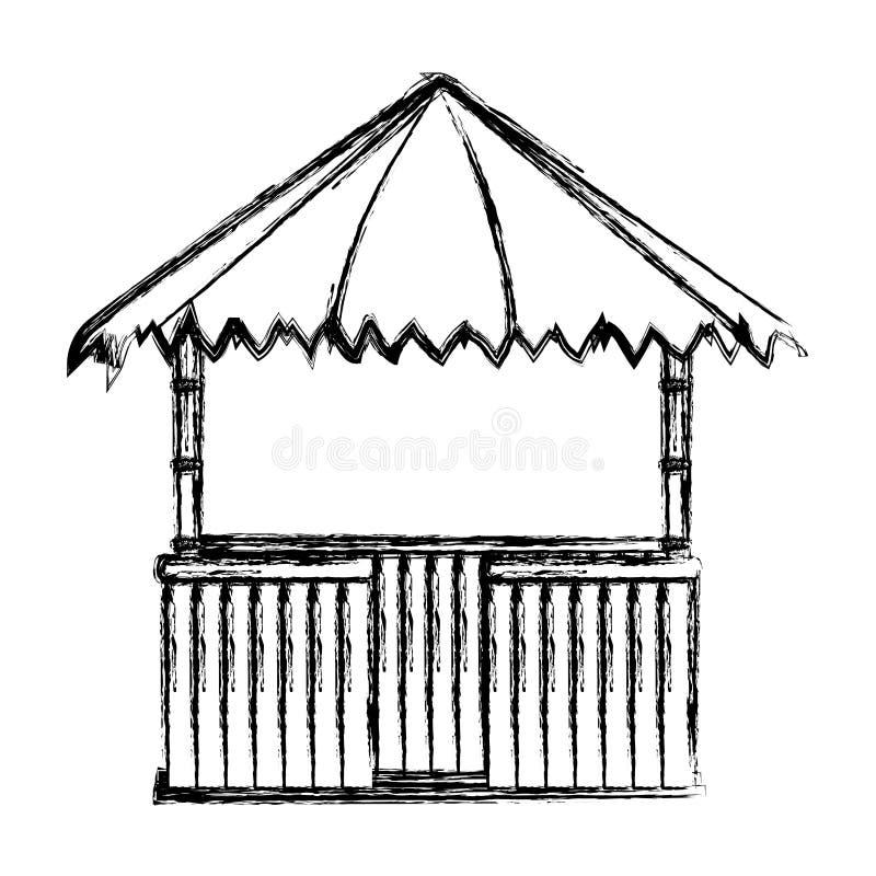 Estilo da arquitetura da natureza da cabana da palha do Grunge ilustração stock