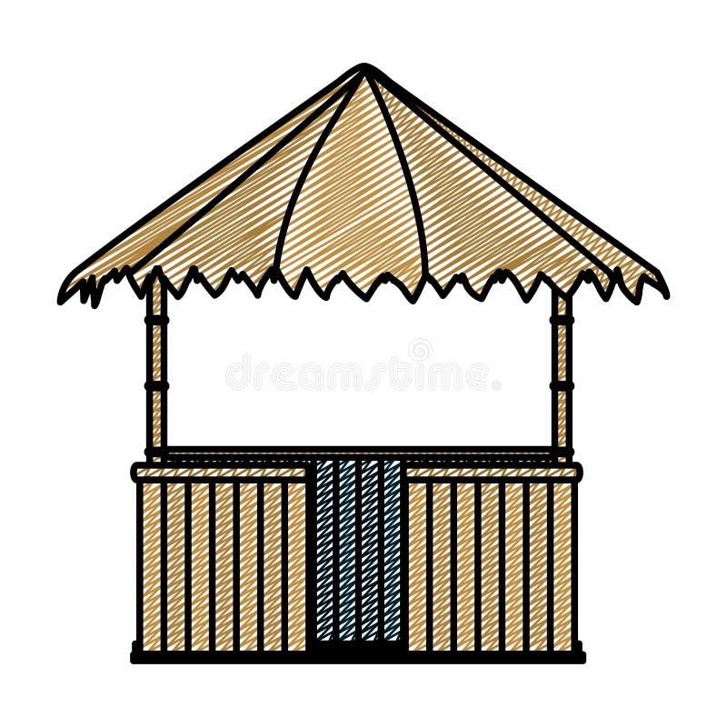 Estilo da arquitetura da natureza da cabana da palha da garatuja ilustração stock