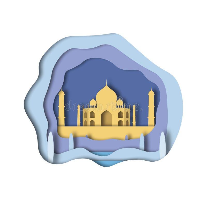 Estilo da arte de Taj Mahal Paper ilustração do vetor