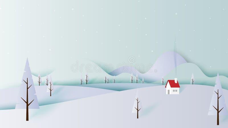 Estilo da arte do papel do cenário da paisagem do inverno ilustração royalty free