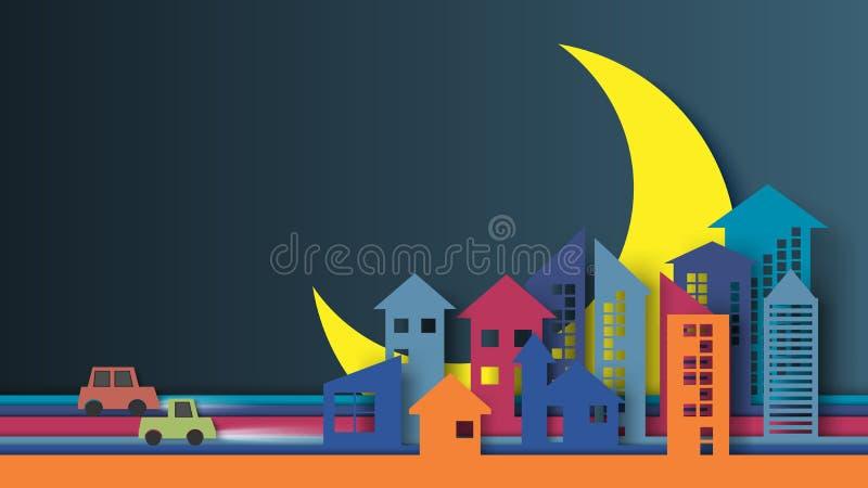 Estilo da arte do papel da cidade da noite ilustração do vetor