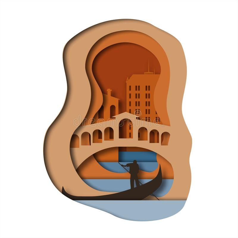 Estilo da arte do papel de Veneza ilustração royalty free