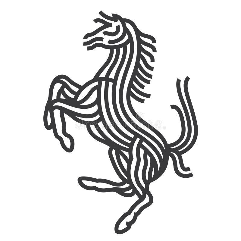 Estilo da arte do símbolo do cavalo A linha vetor ilustra ilustração stock