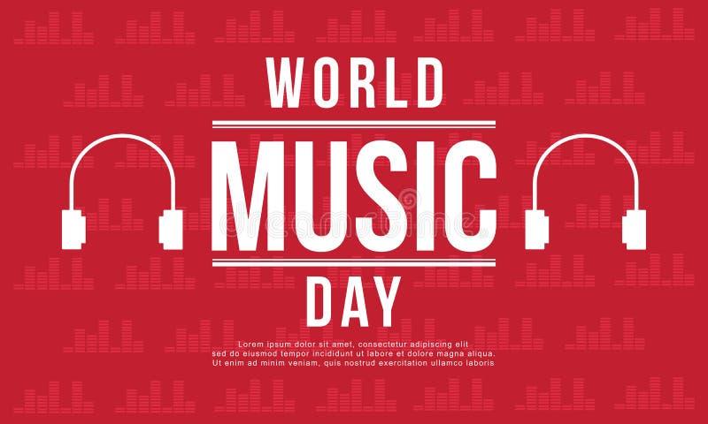 Estilo da bandeira do dia da música do mundo ilustração do vetor