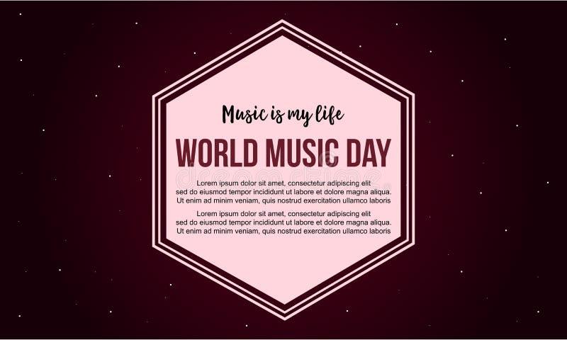 Estilo da bandeira do dia da música do mundo da celebração ilustração stock