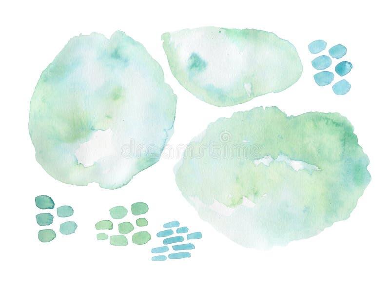 Estilo da forma da forma da escova da aquarela, fundo brilhante do projeto Formas modernas pintados à mão do grunge ilustração do vetor
