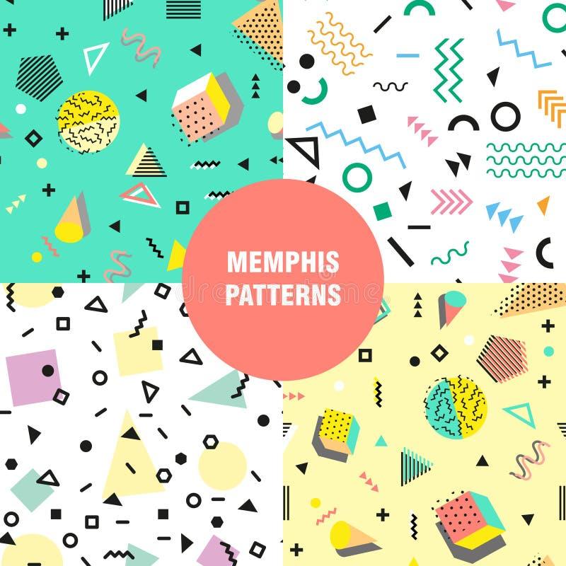 Estilo da forma 80s ou 90s retro do vintage Teste padrão sem emenda de Memphis Elementos geométricos na moda Projeto abstrato mod ilustração stock