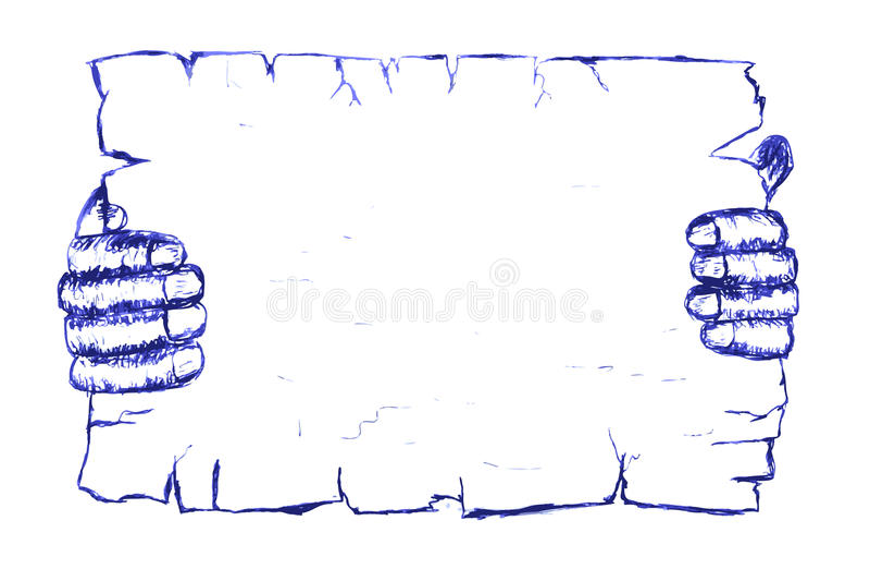 Estilo da garatuja, mão que guarda o papel vazio ilustração stock