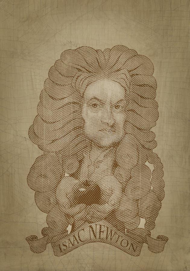 Estilo da gravura do retrato do sepia de Isaac Newton ilustração stock