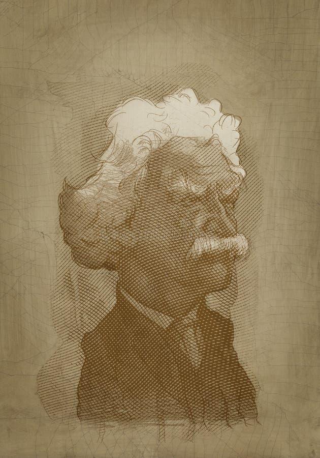 Estilo da gravura do retrato do sepia de Mark Twain ilustração royalty free