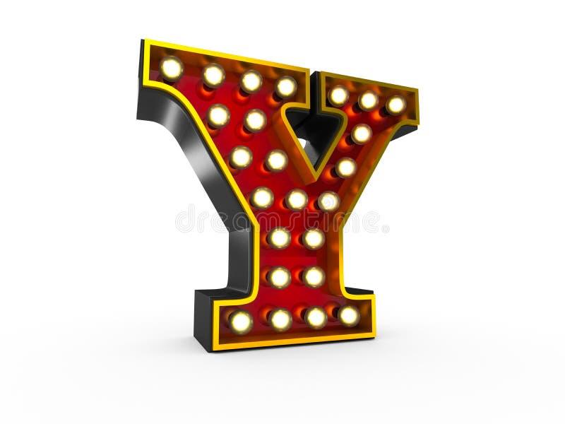 Estilo da letra Y 3D Broadway ilustração do vetor