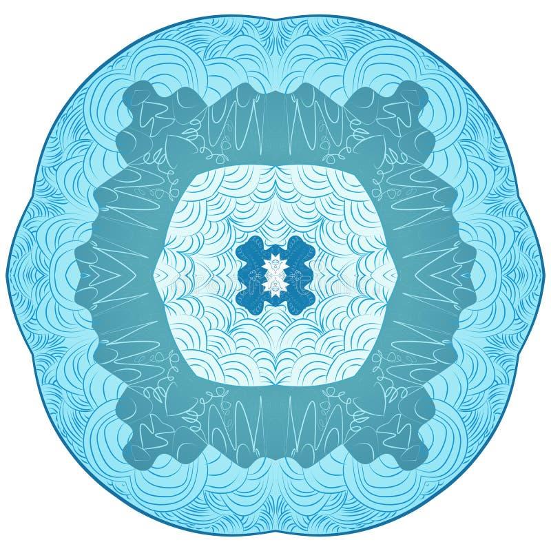 Estilo da mandala de Zentangle Floco de neve original do ornamento do laço da ilustração do vetor ilustração royalty free