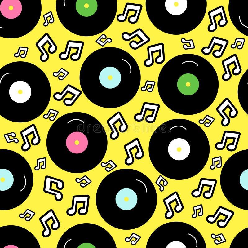 estilo da nostalgia 80s, da forma retro de 80 ` s do vintage fundo sem emenda Teste padrão com registro de vinil ilustração stock