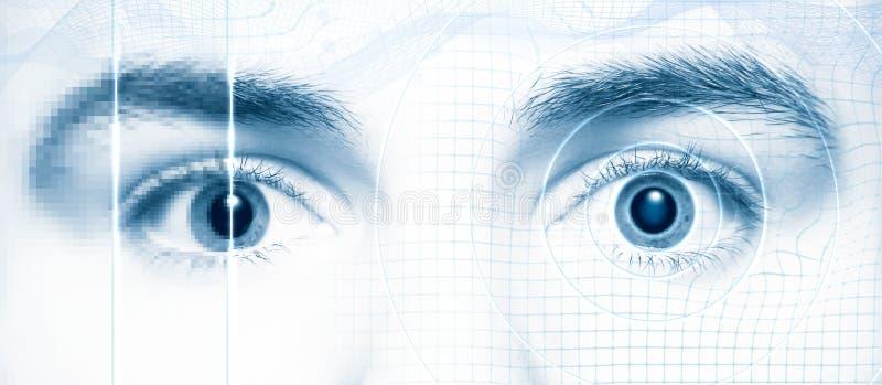 Estilo de alta tecnología digital de los ojos humanos ilustración del vector