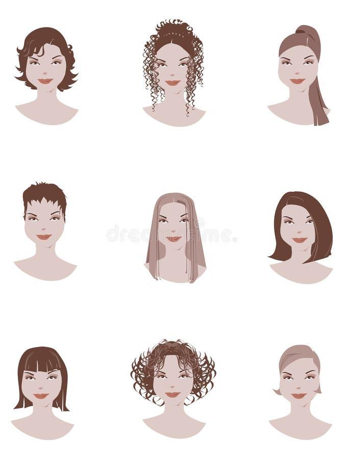 Estilo de cabelo ilustração royalty free
