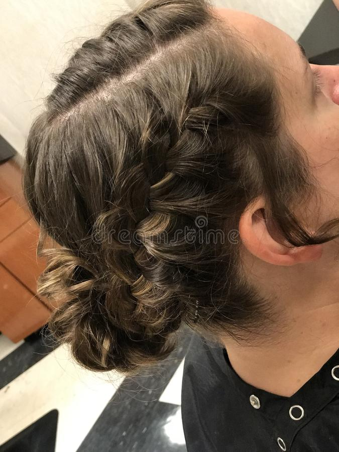 Estilo de cabelo trançado foto de stock