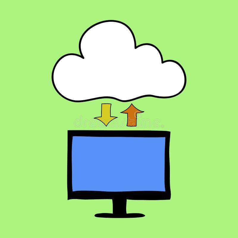 Estilo de computação da garatuja da nuvem ilustração do vetor