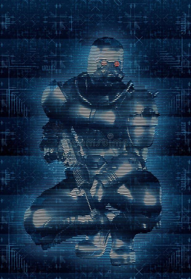 Estilo de Cyber War Hologram del soldado ilustración del vector