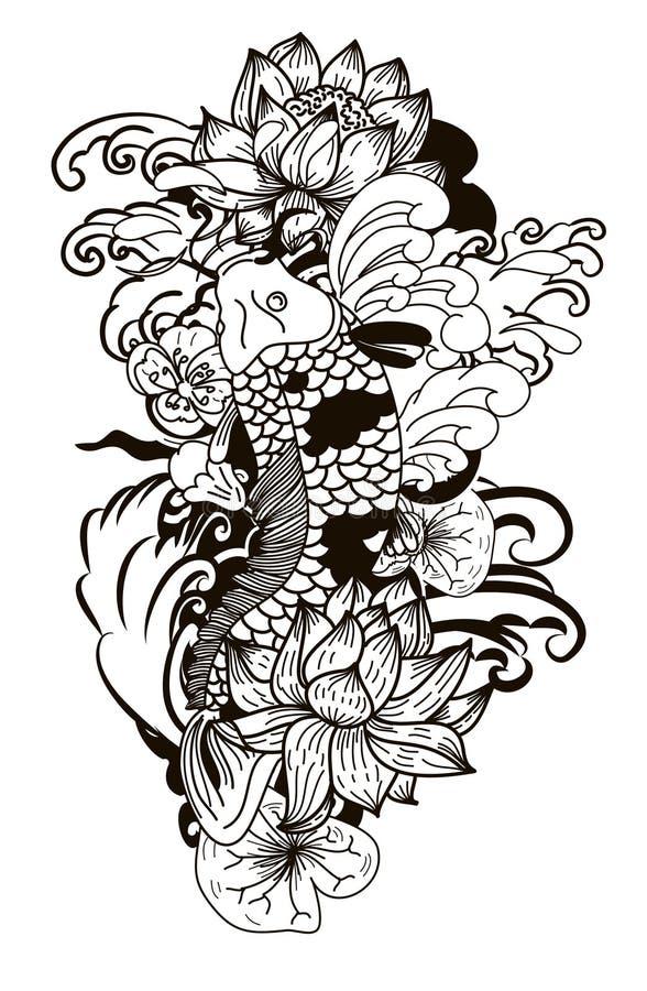 Estilo de dibujo blanco y negro del tatuaje de Koi Carp Japanese libre illustration