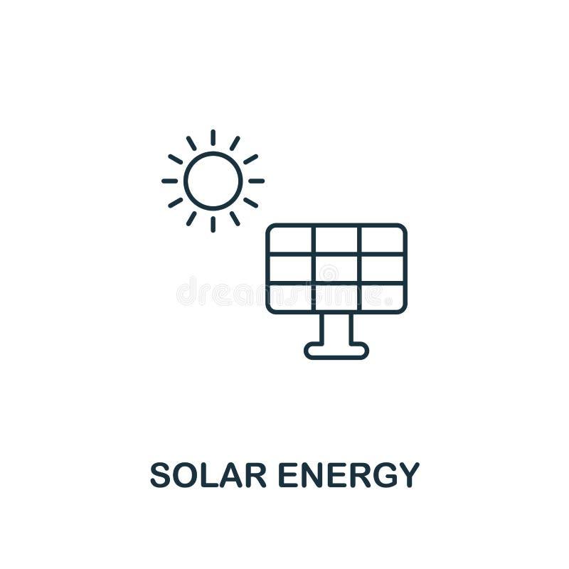 Estilo de energía solar del esquema del icono Diseño superior del pictograma de la colección del icono del poder y de la energía  ilustración del vector
