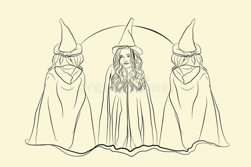 estilo de esboço do Dia das Bruxas da bruxa ilustração royalty free