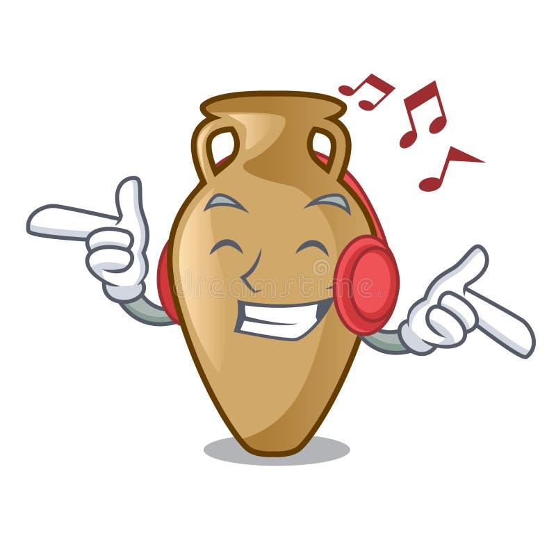 Estilo de escuta dos desenhos animados da mascote da ânfora da música ilustração do vetor