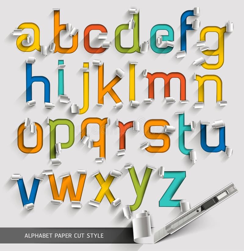 Estilo de fonte colorido cortado papel do alfabeto ilustração do vetor