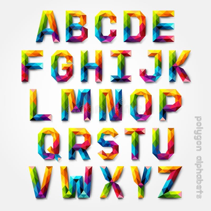 Estilo de fuente colorido del alfabeto del polígono. ilustración del vector