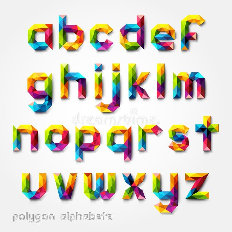 Estilo de fuente colorido del alfabeto del polígono. stock de ilustración